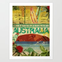 australia Art Prints featuring Australia by LilianaPerez