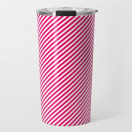Mini Hot Neon Pink and White Candy Cane Stripes Travel Mug