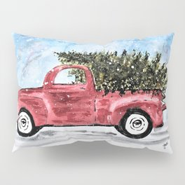 Vintage Red Christmas Truck with Tree Watercolor Pillow Sham