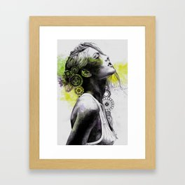 Burnt By The Sun   mandala woman portrait Framed Art Print