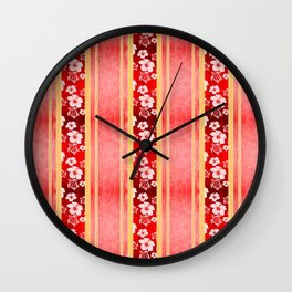 Red Hibiscus Hawaiian Honu Wall Clock