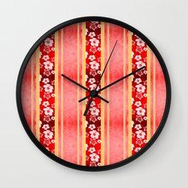 Red Hibiscus Hawaiian Honu Wall Clock