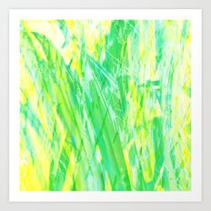 Grassy Abstract in Yellow Green Aqua White by Menega Sabidussi Art Print