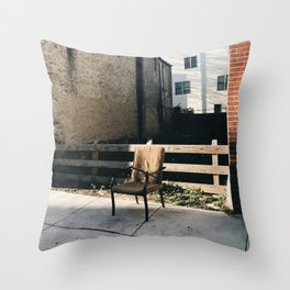 lone chair, south philly Throw Pillow