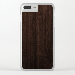 Very Dark Coffee Table Wood Texture Clear iPhone Case