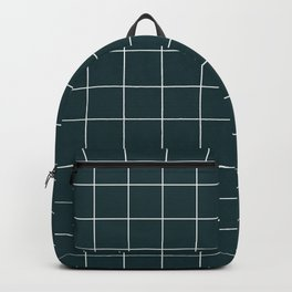 Small Grid Pattern - Green Tinted Navy Blue Backpack