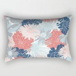 Festive, Floral Prints, Coral Aqua, Pink, Navy Blue, Gray Rectangular Pillow