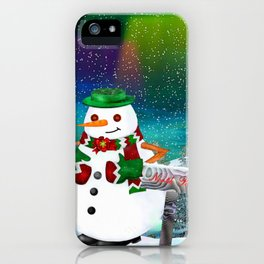 Frosty Town Christmas Folk Art iPhone Case