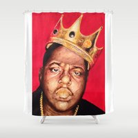 biggie smalls Shower Curtains featuring Biggie Smalls by Danielle Mariah