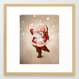 Santa Claus collects stars Framed Art Print