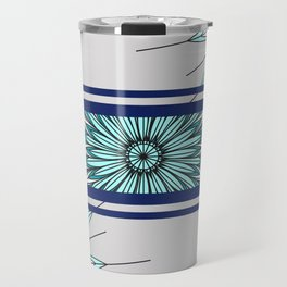 feathers effect bue multicolored abstract Travel Mug