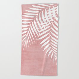 Pink Paint Stroke of Palm Leaves Beach Towel