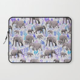 Sweet Elephants in Aqua, Purple, Cream and Grey Laptop Sleeve