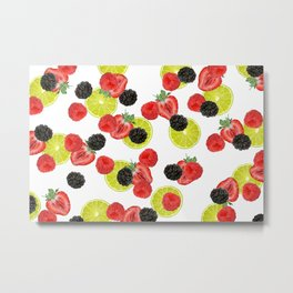 Lime Raspberry Blackberry Strawberry fruits pattern - white  Metal Print