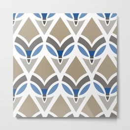 Feathers In Blue And Brown Metal Print