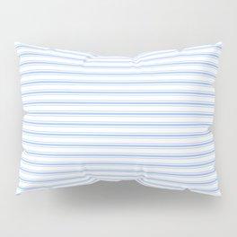 Mattress Ticking Narrow Horizontal Stripe in Pale Blue and White Pillow Sham