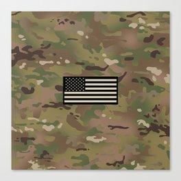 U.S. Flag: Woodland Camouflage Canvas Print