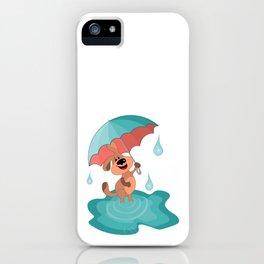 Dog with an umbrella walks joyfully through the puddles iPhone Case
