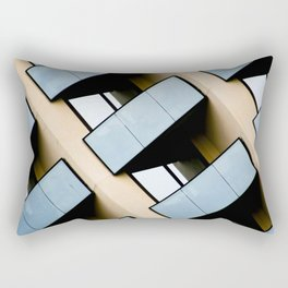 Beige and Aqua Blue Geometric Squares and Rectangles Architecture Florida Building Rectangular Pillow
