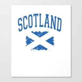 Scotland Varsity Lettering with Paintbrush Style Flag Pullover Hoodie Canvas Print
