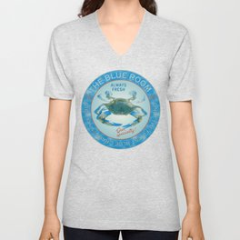 Retro Vintage Advertising Inspired Seafood Ad for Blue Crabs Unisex V-Neck