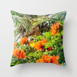 The beautiful red flowers of the African Tulip Tree at Kuto Bay Beach Throw Pillow