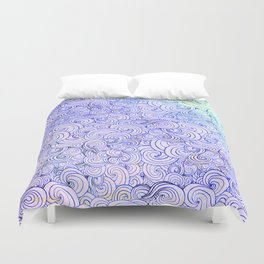 1970's Style Waves And Clouds Drawing Duvet Cover