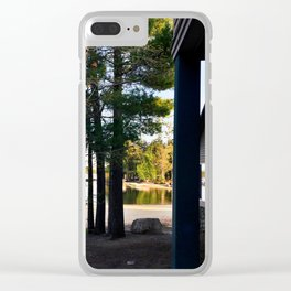 Spring Camping on Sebago Lake Clear iPhone Case
