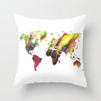 new order Throw Pillows featuring World Map new order by jbjart