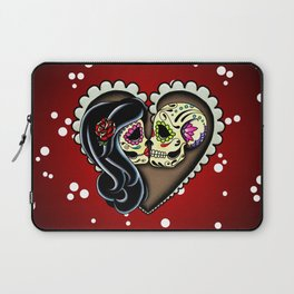 Ashes - Day of the Dead Couple - Kissing Sugar Skull Lovers Laptop Sleeve