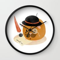 guinea pig Wall Clocks featuring Guinea Pig Portrait 2 by NdKf