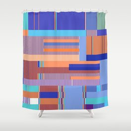Scandinavian Moon (Blue Salmon Colours) Shower Curtain