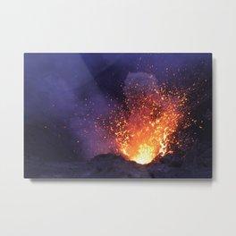 Lava explosion at Mount Yasur Vanuatu at dusk Metal Print