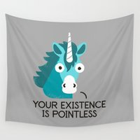 mythology Wall Tapestries featuring Neigh Sayer by David Olenick