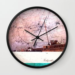 #Sea mood #zakynthos, #sand, blue, #boat, #sea print, #ocean, #society6, #print gift, #decor, #art, Wall Clock