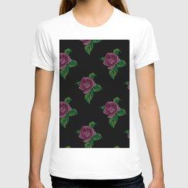 Rose cross stitch - black T-shirt