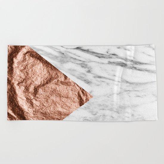 Marble & rose gold foil geometric design Beach Towel