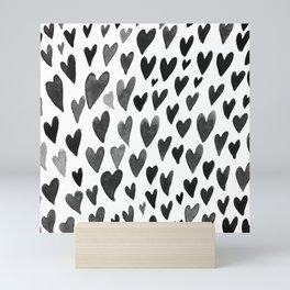 Valentines day hearts explosion - black and white Mini Art Print