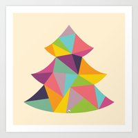 Colourful Christmas Tree Art Print