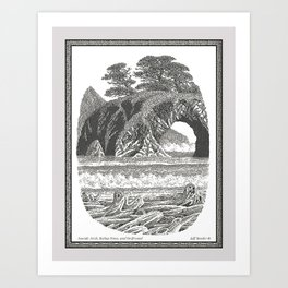 SEASIDE ARCH, BISHOP PINE, AND DRIFTWOOD VINTAGE PEN DRAWING Art Print