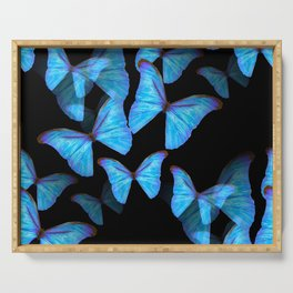 Turquoise Blue Tropical Butterflies Black Background #decor #society6 #buyart Serving Tray