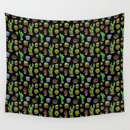 Potted cacti and succulents on black background Wall Tapestry