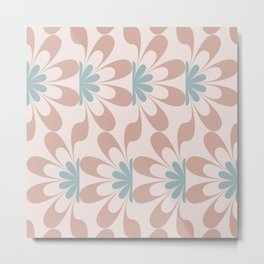 Mid Century Modern Abstract Flower Fan Pattern in Muted Blush Pink Teal Blue Metal Print