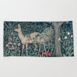 William Morris Forest Deer Beach Towel