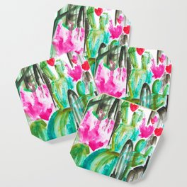Pink Happy Plants Coaster