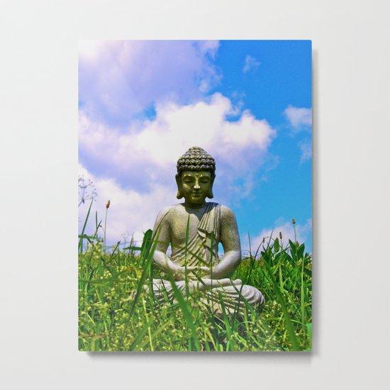 Buddha Takes the Field Metal Print