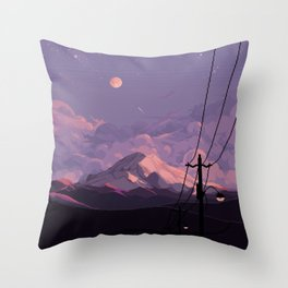 Mt Rainier with Powerlines Throw Pillow