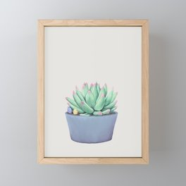 Small Potted Succulent with Crystals Framed Mini Art Print