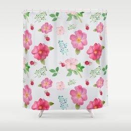 Rosehip Spring Garden Floral Pattern Shower Curtain