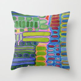 Colorful elongated Forms Pattern Throw Pillow